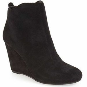 DV Dolce Vita Black Suede Leather Wedge Booties